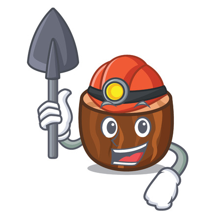 Miner nutmeg mascot cartoon style vector illustration
