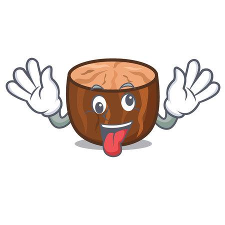 Crazy nutmeg mascot cartoon style vector illustration.