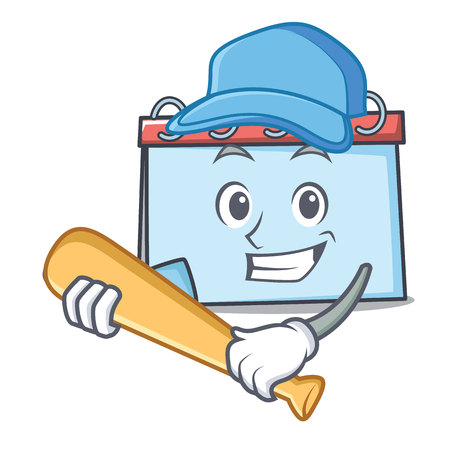 Playing baseball calendar character cartoon style Vector illustration. Illustration
