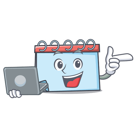With laptop calendar character cartoon style Vector illustration.