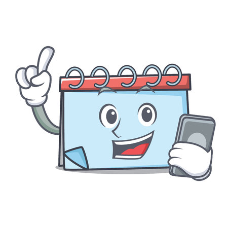 With phone calendar character cartoon style Vector illustration.