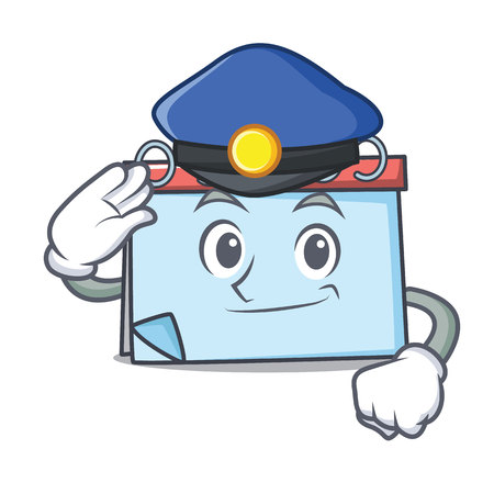 Police calendar character cartoon style Vector illustration.