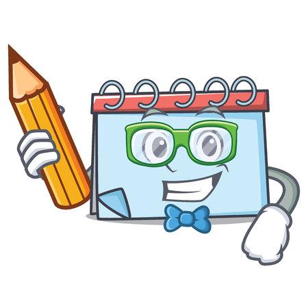 Student calendar character cartoon style Vector illustration. Illustration