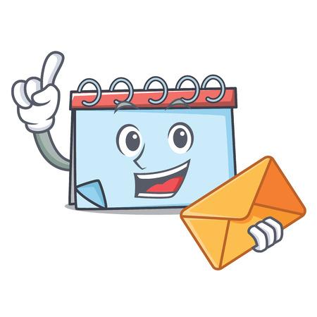 Envelope calendar character cartoon style Vector illustration.