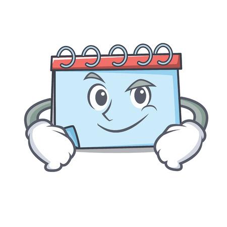 Smirking calendar character cartoon style Vector illustration. Illustration