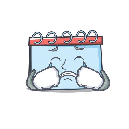 Crying calendar mascot cartoon style Vector illustration.