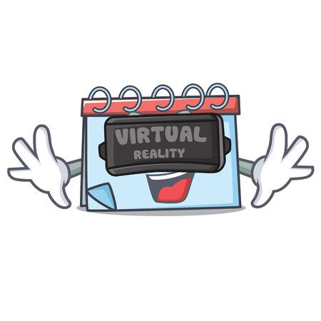 Virtual reality calendar mascot cartoon style Vector illustration.