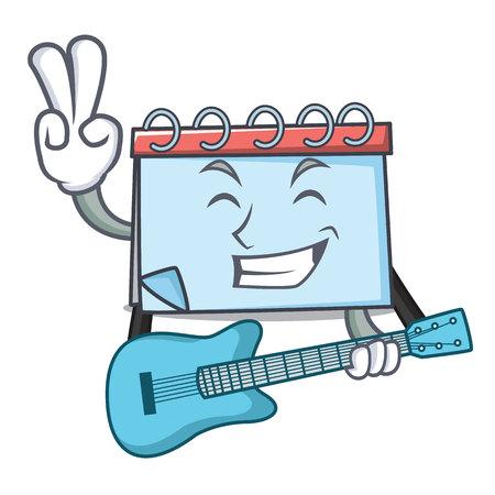 With guitar calendar mascot cartoon style Vector illustration. Stock Illustratie