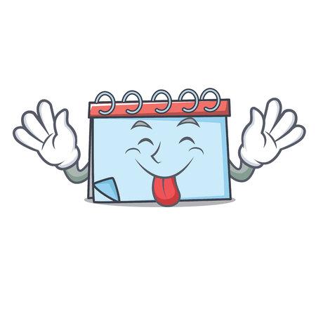 Tongue out calendar mascot cartoon style Vector illustration.
