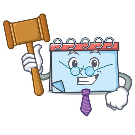 Judge calendar mascot cartoon style vector illustration Illustration