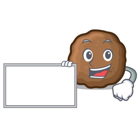 With board meatball character cartoon style Foto de archivo - 98839324