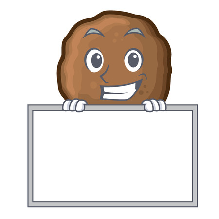 Grinning with board meatball character cartoon style Vectores