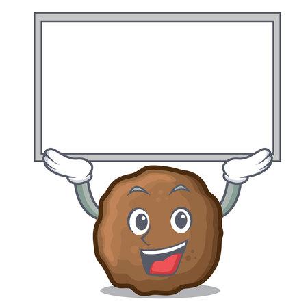 Up board meatball character cartoon style