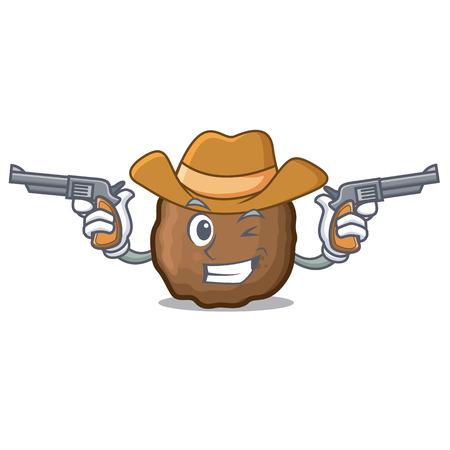Cowboy meatball character cartoon style