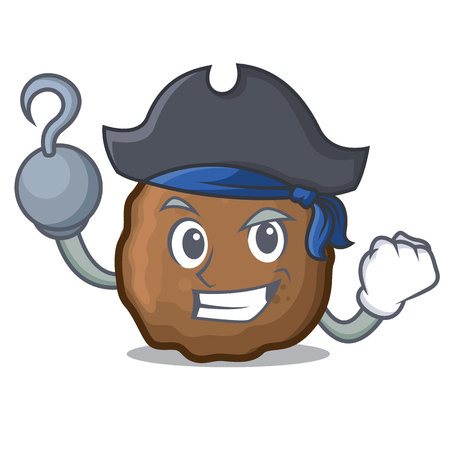 Pirate meatball character cartoon style