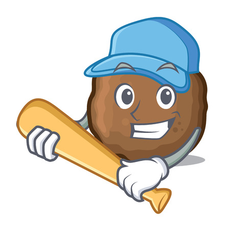 Playing baseball meatball character cartoon style Illustration