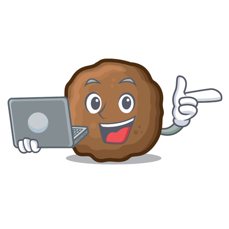 With laptop meatball character cartoon style Stock Illustratie