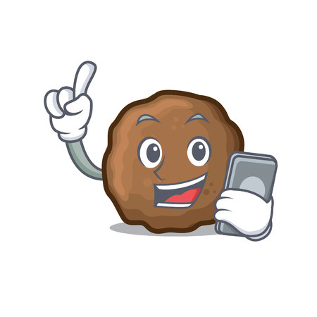 With phone meatball character cartoon style Иллюстрация