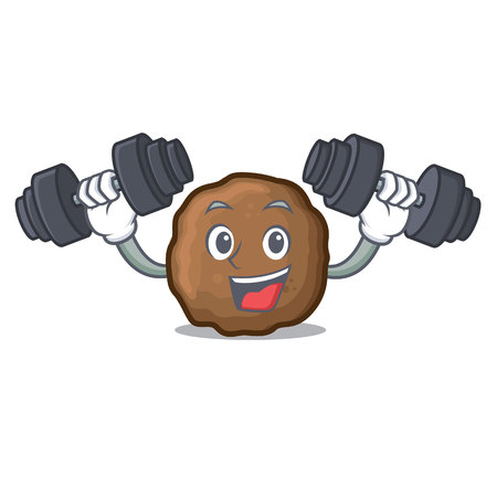 Fitness meatball character cartoon style Foto de archivo - 98839455