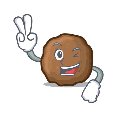 Two finger meatball character cartoon style 向量圖像