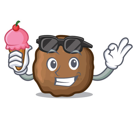 Ice cream cool meatball character cartoon style Foto de archivo - 98839470