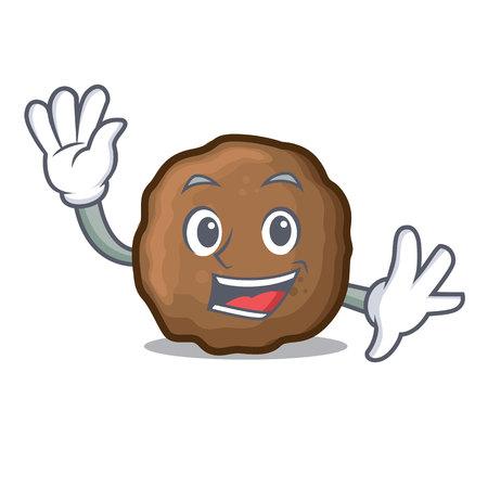Waving meatball character cartoon style Vectores