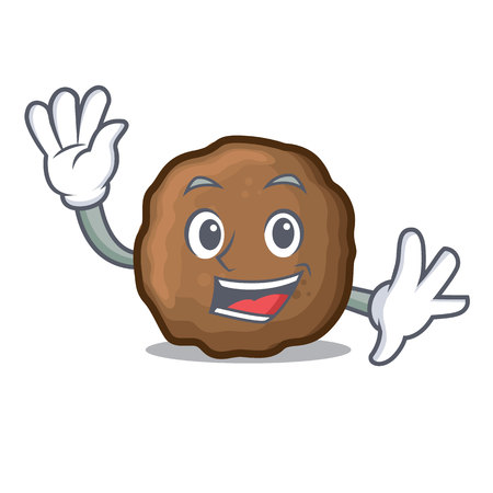 Waving meatball character cartoon style Illustration