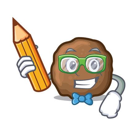 Student meatball character cartoon style