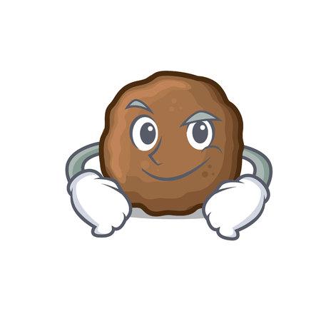 Smirking meatball character cartoon style