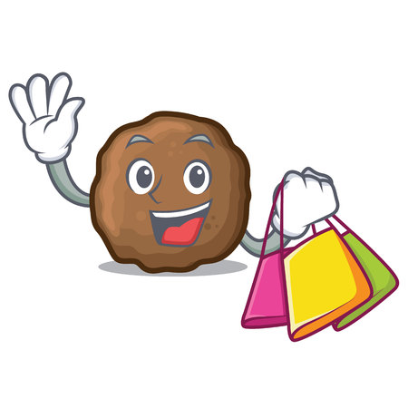 Shopping meatball character cartoon style