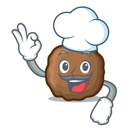 Chef meatball character cartoon style Vectores