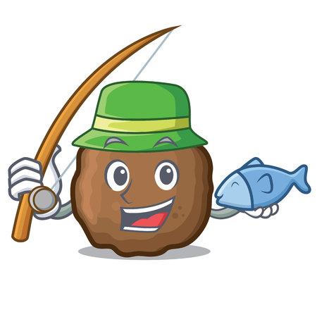 Fishing meatball mascot cartoon style Illustration