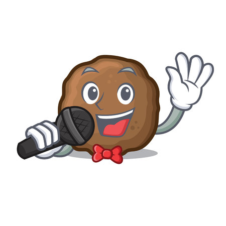 Singing meatball mascot cartoon style