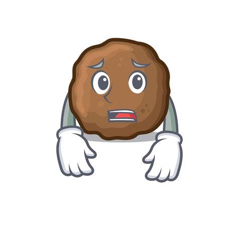 Afraid meatball mascot cartoon style