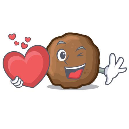 With heart meatball mascot cartoon style