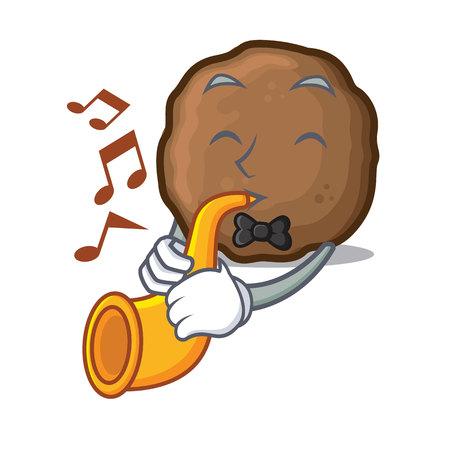 Trumpet meatball mascot cartoon style vector illustration