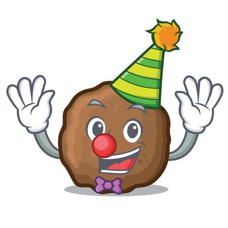Clown meatball mascot cartoon style 向量圖像