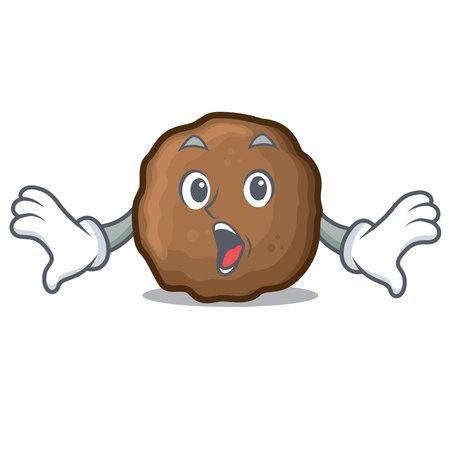Surprised meatball mascot cartoon style vector illustration
