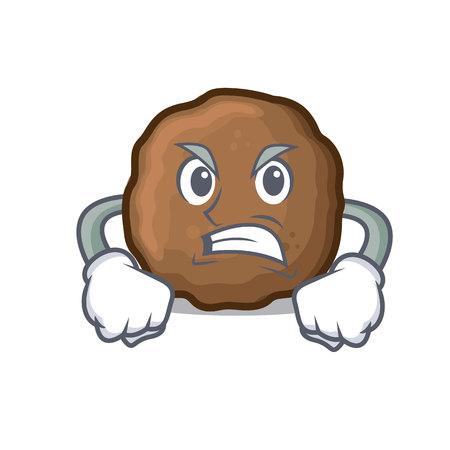 Angry meatball mascot cartoon style vector illustration