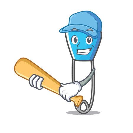 Playing baseball safety pin character cartoon vector illustration