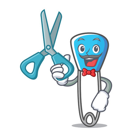 Barber safety pin character cartoon vector illustration Illustration