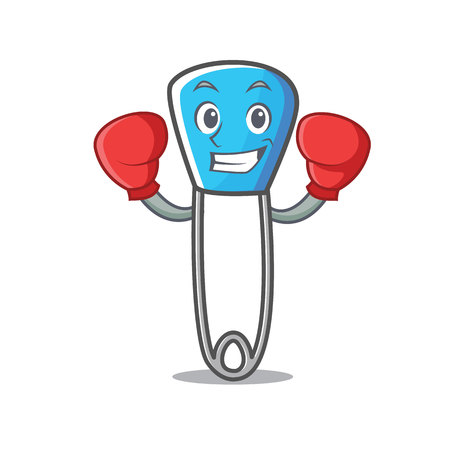 Boxing safety pin character cartoon vector illustration