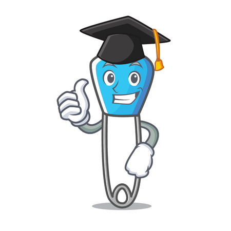 Graduation safety pin character cartoon vector illustration