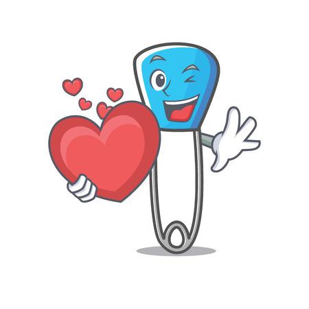 With heart safety pin mascot cartoon vector illustration