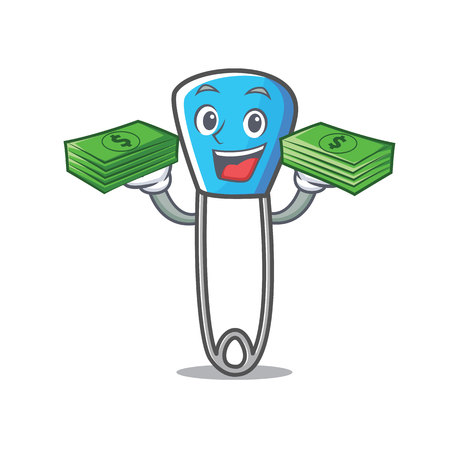 With money safety pin mascot cartoon vector illustration Çizim