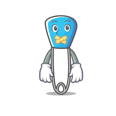 Silent safety pin mascot cartoon Illustration