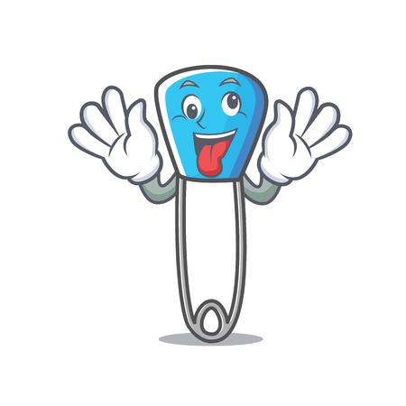 Crazy safety pin mascot cartoon vector illustration Illustration