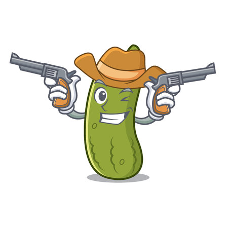 Cowboy pickle character cartoon style vector illustration