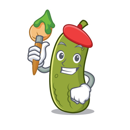 Artist pickle character cartoon style vector illustration