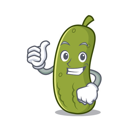 Thumbs up pickle character cartoon style vector illustration